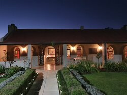Thyme Out restaurant entrance on a beautiful evening in Wakkerstroom.