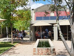 The terrace at Thyme Out in Wakkerstroom.