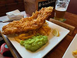 Beer battered Fish and chips @ the ship Portloe