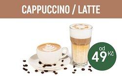 Cappuccino 49,- CZK Latte Macchiato 59,- CZK