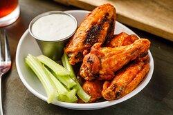 Jumbo Chicken Wings - - choose from carolina bbq, 5 pepper honey, lemon pepper (dry rub)