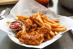 Buttermilk Fried Chicken Fingers - hand-breaded - served with fries