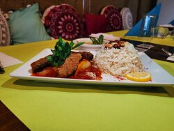 """Mazaj Restaurant, Arabic Food Kafta Kebab Hindi with Saffron Rice"