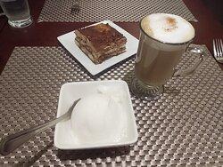 Tiramisu, cappuccino, and lemon gelato.
