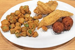 Catfish dinner with fried okra was delicious