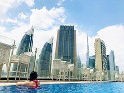 Burj Khalifa view from the pool deck🏊♀️❤️