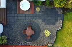 Aerial View of the terrace and Hot Tub at our Fisherstreet Lodge