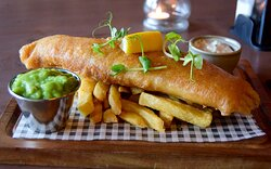 Fish and Chips - currently available on our lunch and evening menu (September 2021 - menus are subject to change).