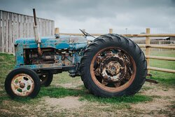At the end of our farm trail, you can take our vintage tractors for an imaginary 'test drive'.
