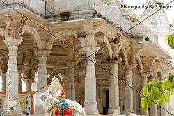 Sculptures , Marble carving decorative pillars , ceiling , Jain Temple, Shri Mandavgarh Teerth , Mandu , M.P. India