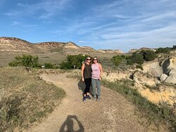 My wife and friend on the trail