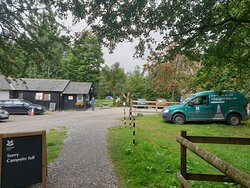Reception/shop with campsite beyond