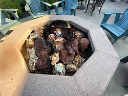 Lava rock fire pit - gorgeous just too hot outside to have this on