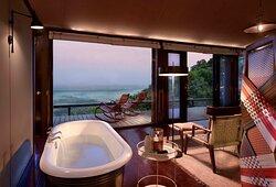 A bath with w view