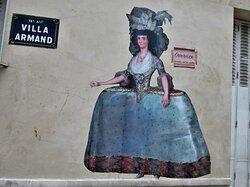 Collage de la street artiste Rebecca, réalisé en août 2021 à Villa Armand dans le 18ème arrondissement