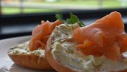 Bagel, smoked salmon, light cream cheese