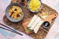 Hoisin Duck Rolls and Saba's famous Massaman Curry