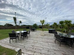 Spacious decking area, note there is another decking area to the left and right of the one in the pictures
