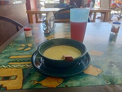 soup of a sort served with meal paakage Itacate restaurante Chadurei superstore main entrance off highway Pto Morelos  Mexico south of cancun airport