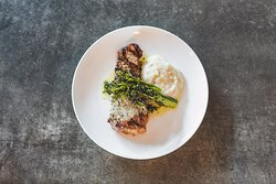 New York Strip with Charred Broccolini and Mashed Potatoes