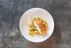 Roasted  Wild Salmon with Quinoa, Squash, and Mushrooms in Coconut Broth