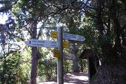 Carteles informastivos en la Casita del Monte indicando los distinto lugares donde puedes ir
