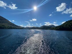View from the back of the boat from Glenridding to Aria Force