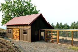 Barn housing chickens & pygora goats
