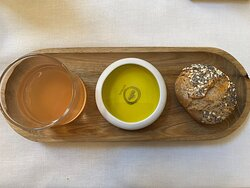 Bread, olive oil and tomato water.