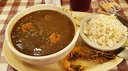 Seafood gumbo and rice (with a whole shrimp from my friend's shrimp and grits)