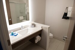 Spacious well lit bathrooms in each of our guest rooms.