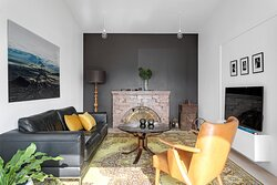 Spacious apartment on 1st floor  with high ceilings and fireplace.