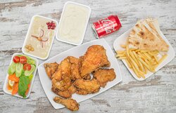 Broast Chicken Combo with French Fries ,Hummus Paste , Garlic Paste, Green Salad , Arabic Bread & Soft Drink.