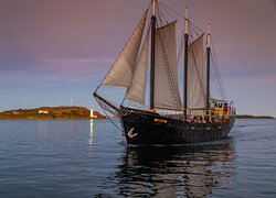 Tall Ship Silva against Georges Island and a gorgeous summer sky - Acorn Art & Photography
