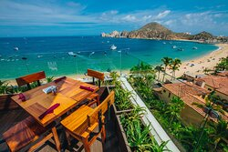 Baja Brewing Rooftop has the best view overlooking the Bay and entrance to the Marina in all of Cabo.