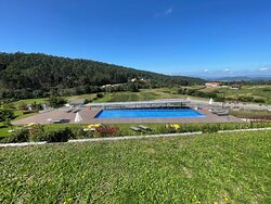Infinity pool with Galician hills in the background