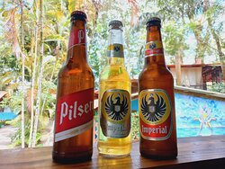 National Beers sold HERE Happy Hour Special every day 2 for 2500 colones