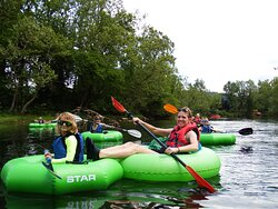 Family out for an exciting Guided River Tube Trip on Watauga River