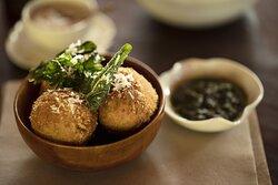 ARANCINI  Arborio rice, mushroom, thyme, scarmoza cheese, basil pesto