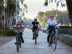 Riding e-bikes at Riverboat Dock Echuca