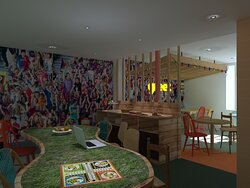 Espace dédié aux petits-déjeuners et coworking