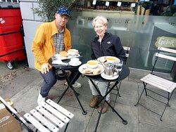 Steve and Sandra Bell enjoying al fresco dining at Di Giorgio.