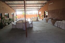 Outdoor dining area at Epikaizo Guest House, Outapi, Namibia