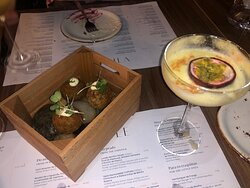 Portuguese croquettes and passion fruit martini