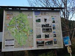 駐車場にある佐田地区観光マップ