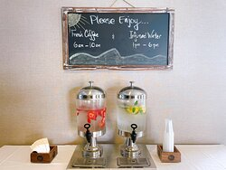 Enjoy free hot coffee in the morning or come back in the afternoon for a cup of fruit-infused water.