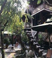 Cafe garden fish koi cafe hammock leaf hut coffee Home Garden C K