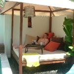 Our day bed, lovely to sit on whilst reading the free newspaper
