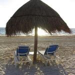 2 beach chairs at sunrise- there is waiter service at the pool and the beach