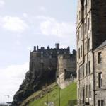 Apartment from street level with Edinburgh Castle beyond